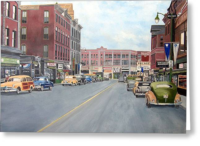 Main Street Greeting Cards - Main St New Britain Ct 1950 Centenial Greeting Card by John Fitzsimmons