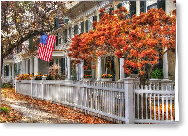 Main St. Usa - Woodstock, Vermont Greeting Card by Joann Vitali