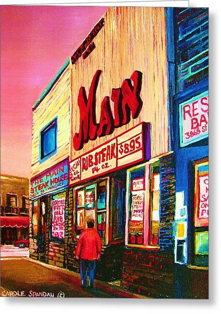 Main Steakhouse Blvd.st.laurent Greeting Card by Carole Spandau