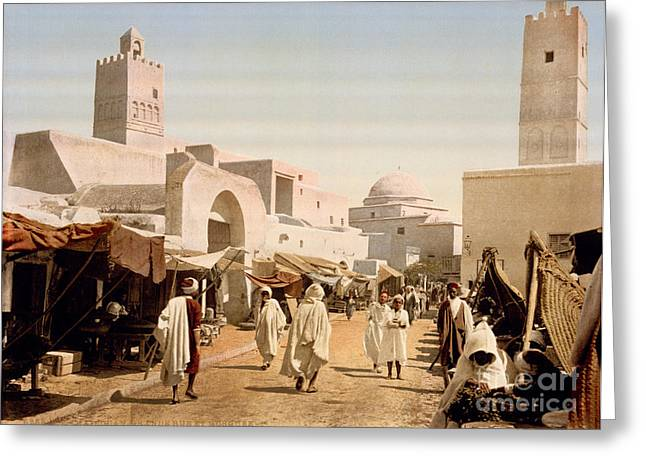 Main Street Greeting Cards - Main street and mosque Greeting Card by Celestial Images