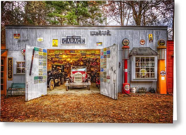 Air Tractors Greeting Cards - Main Street Garage Greeting Card by Debra and Dave Vanderlaan