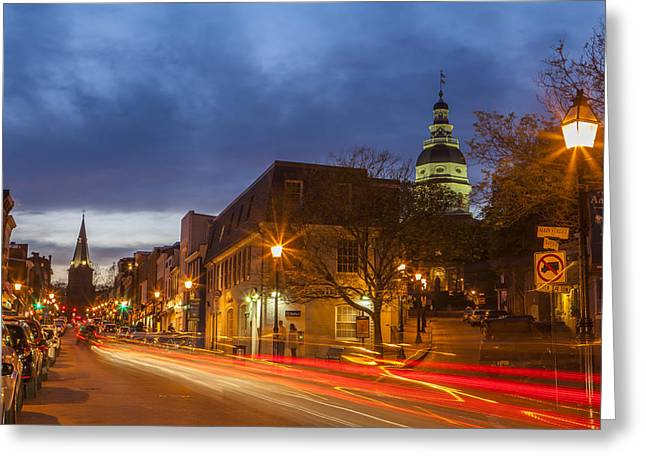 Store Fronts Greeting Cards - Main Street in Annapolis Greeting Card by Richard Nowitz