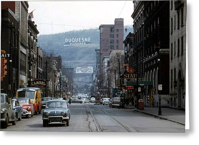 Cambria Greeting Cards - Main Street Johnstown 1950s Greeting Card by Photographer Unknown