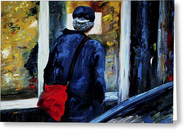 Pallet Knife Greeting Cards - Main Street  Greeting Card by Linda Carroll