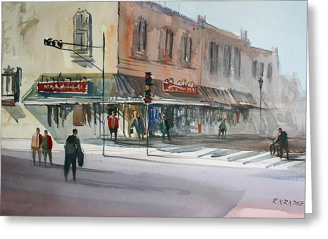 Main Street Marketplace - Waupaca Greeting Card by Ryan Radke