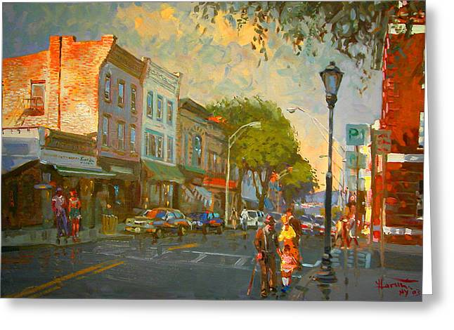 Main Street Greeting Cards - Main Street Nyack NY  Greeting Card by Ylli Haruni