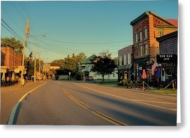 Old And New Greeting Cards - Main Street - Old Forge New York Greeting Card by David Patterson