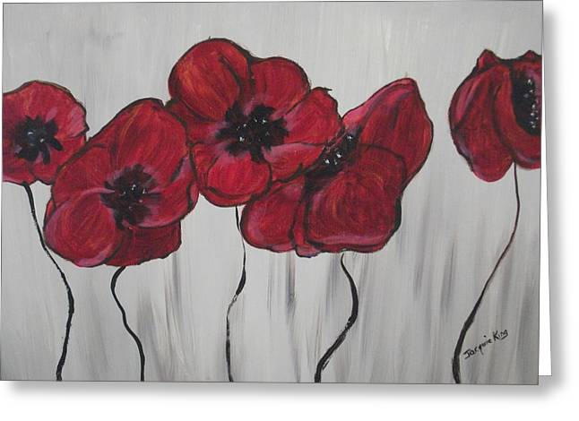 Bedroom Art Greeting Cards - Main Street Poppies x8 Greeting Card by Jacquie King
