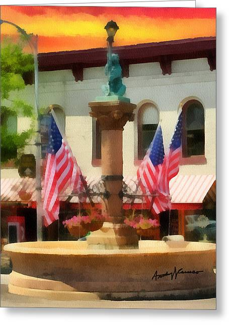 Main Street Mixed Media Greeting Cards - Main Street USA Greeting Card by Anthony Caruso