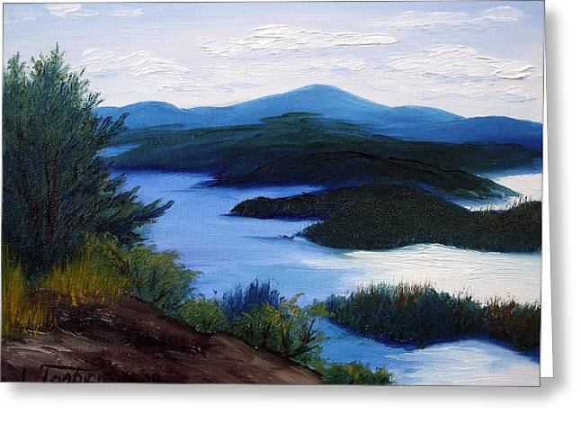 Maine Islands Greeting Cards - Maine Bay Islands  Greeting Card by Laura Tasheiko
