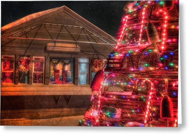 Winter In Maine Greeting Cards - Maine Christmas Scene Greeting Card by Joann Vitali