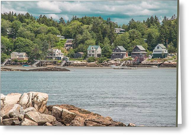 New England Village Greeting Cards - Maine Coastal Scene Greeting Card by Laurie Breton