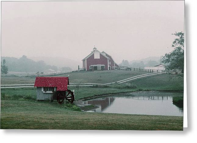 Maine Farms Greeting Cards - Maine Farm in Fog Greeting Card by Cindy Gregg