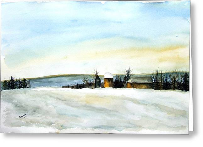 Maine Farms Paintings Greeting Cards - Maine farmland Greeting Card by Jan Anderson