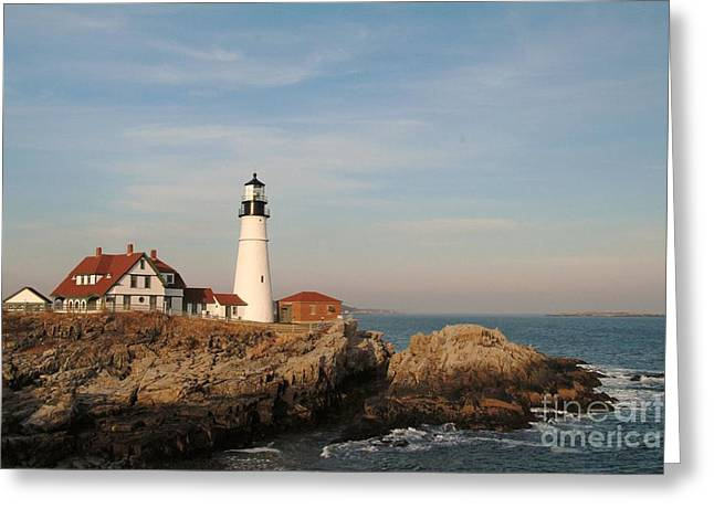 Maine Lighthouse Greeting Card by Alberta Brown Buller