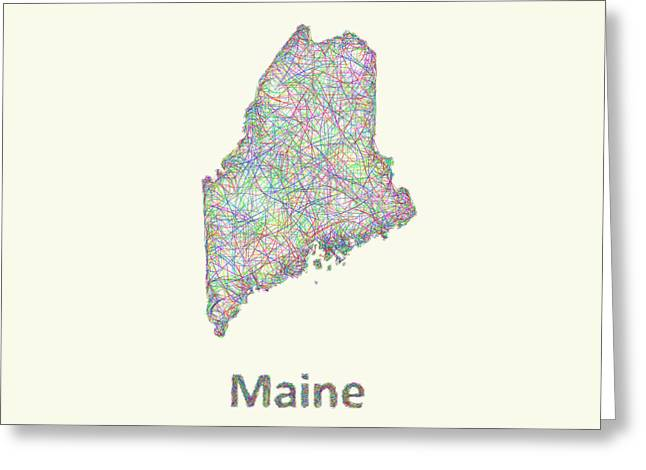 Multicolor Greeting Cards - Maine line art map Greeting Card by David Zydd
