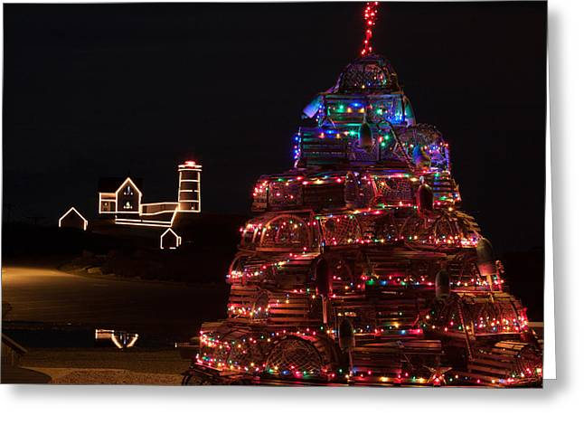 Cape Neddick Greeting Cards - Maine lobster trap Christmas tree Greeting Card by Jeff Folger