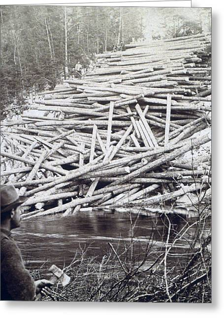 Logger Greeting Cards - Maine Logging -  c 1903 Greeting Card by International  Images