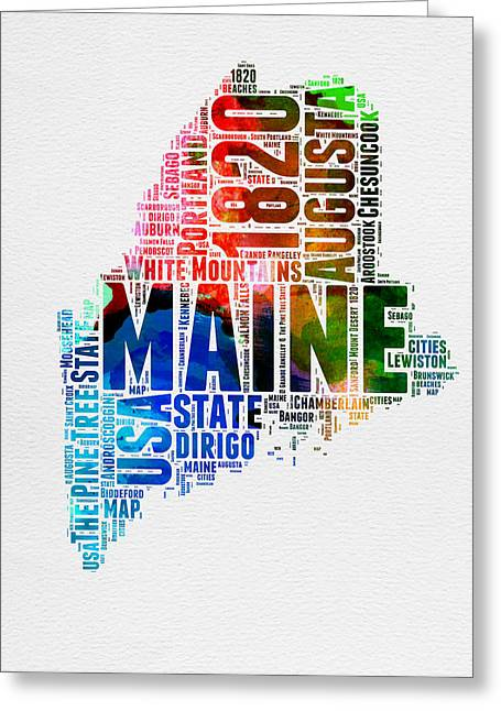 4th July Greeting Cards - Maine Watercolor Word Cloud  Greeting Card by Naxart Studio
