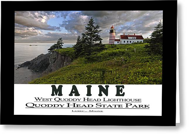 Coastal Maine Greeting Cards - MAINE West Quoddy Head Lighthouse Greeting Card by Marty Saccone