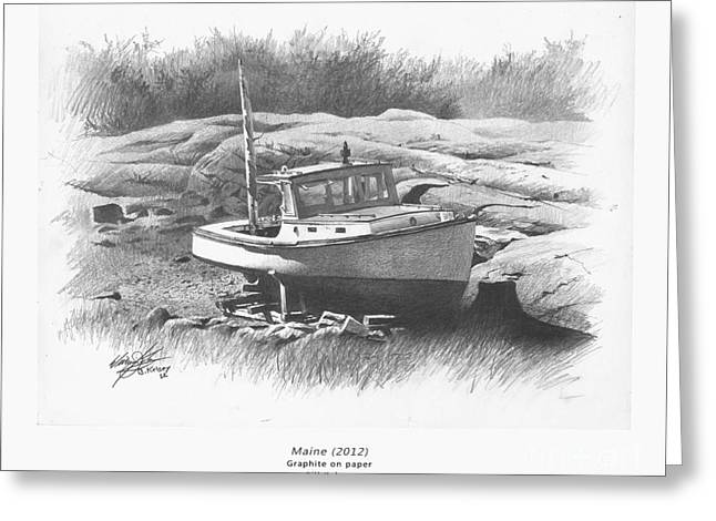 Maine Landscape Drawings Greeting Cards - Maine Greeting Card by William Kelsey