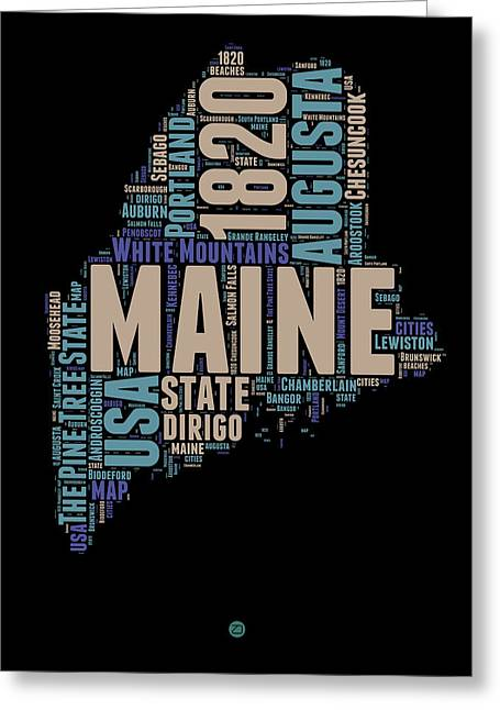 4th July Greeting Cards - Maine Word Cloud 1 Greeting Card by Naxart Studio