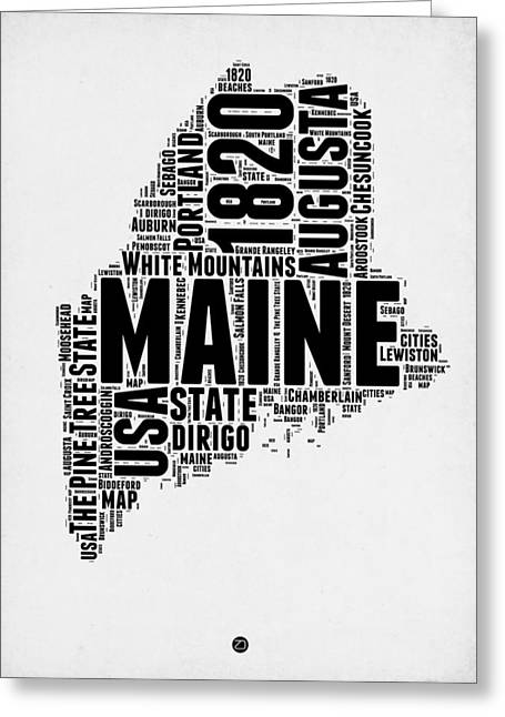 4th July Greeting Cards - Maine Word Cloud 2 Greeting Card by Naxart Studio