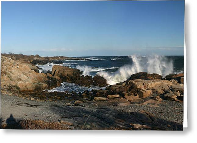 Maine Beach Greeting Cards - Maines Rocky Coast Greeting Card by David Bishop