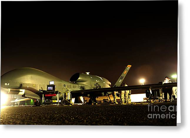 Night Hawk Greeting Cards - Maintenance Performed On A Rq-4 Global Greeting Card by Stocktrek Images