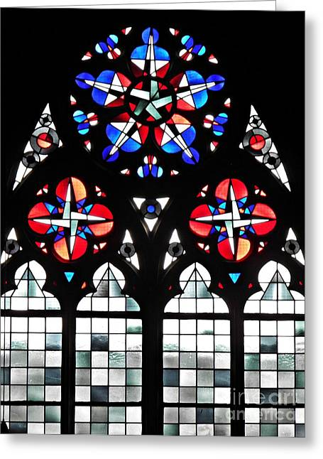 Sarah Loft Greeting Cards - Mainz Cathedral Window Greeting Card by Sarah Loft