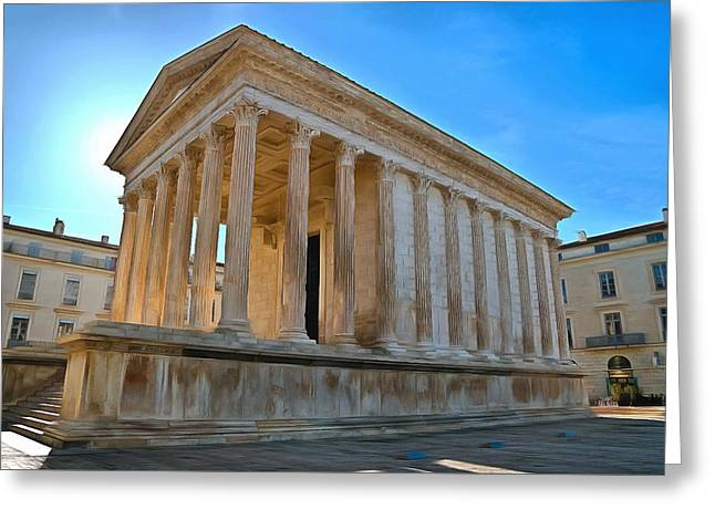 Europe Mixed Media Greeting Cards - Maison Carree Nimes Greeting Card by Scott Carruthers