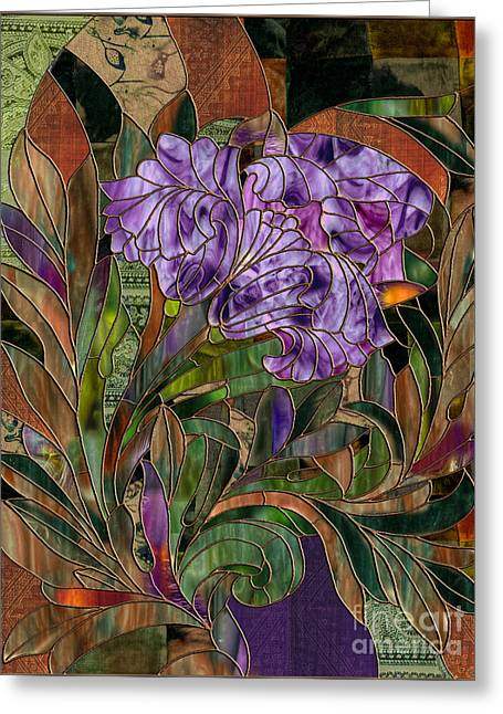 Stained Glass Greeting Cards - Majani Greeting Card by Mindy Sommers