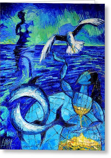 Majestic Bleu Greeting Card by Mona Edulesco