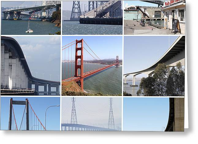 Home Decor Greeting Cards - Majestic Bridges of The San Francisco Bay Area Greeting Card by Home Decor