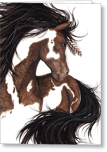 Heather Paintings Greeting Cards - Majestic Dream Pinto Horse 146 Greeting Card by AmyLyn Bihrle