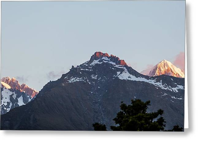 Snow Scene Landscape Greeting Cards - Majestic high peaks of Southern Alps at sunset - New Zealand Greeting Card by Greg Brave
