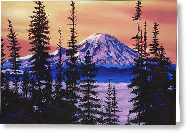 Majestic Mount Baker Greeting Card by David Lloyd Glover