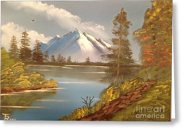 Bob Ross Paintings Greeting Cards - Majestic Mountain Lake Greeting Card by Tim Blankenship