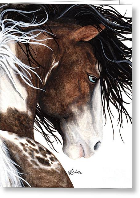 Pinto Paintings Greeting Cards - Majestic Pinto Horse 140 Greeting Card by AmyLyn Bihrle