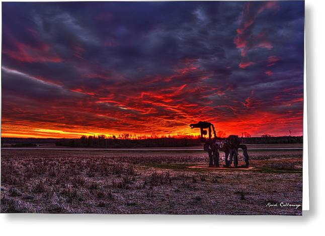 Majestic Red Clouds Winter Sunset The Iron Horse Greeting Card by Reid Callaway