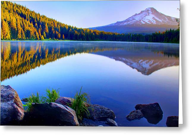 Snow Capped Greeting Cards - Majestic Reflection Greeting Card by John Absher