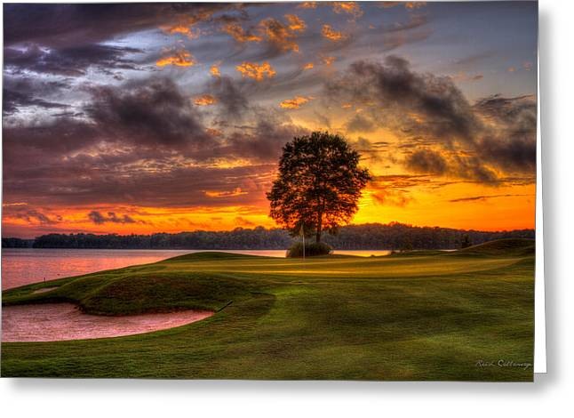 Majestic Sunset Golf The Landing Reynolds Plantation Lake Oconee Georgia Greeting Card by Reid Callaway
