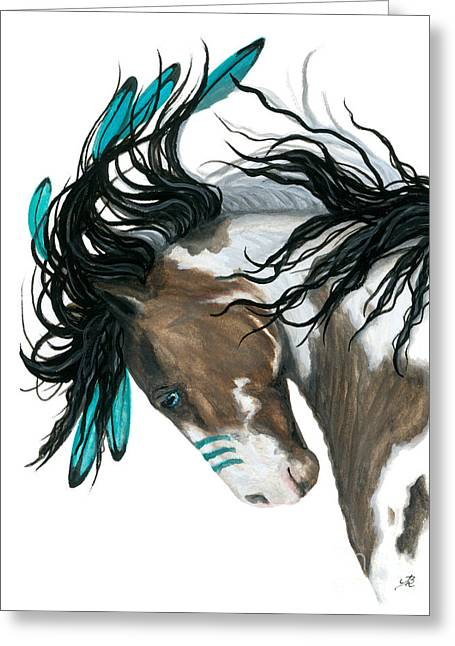 Majestic Turquoise Horse Greeting Card by AmyLyn Bihrle