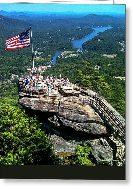 Mohicans Greeting Cards - Majestic View Chimney Rock North Carolina Greeting Card by Reid Callaway