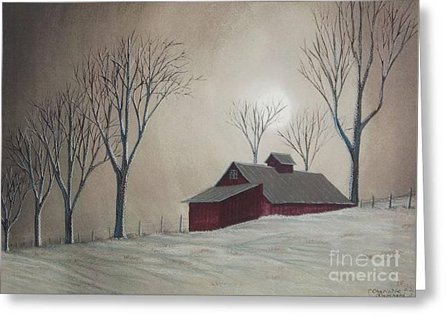 Majestic Winter Night Greeting Card by Charlotte Blanchard