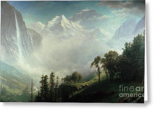 Mountaintop. Trees Greeting Cards - Majesty of the Mountains Greeting Card by Albert Bierstadt