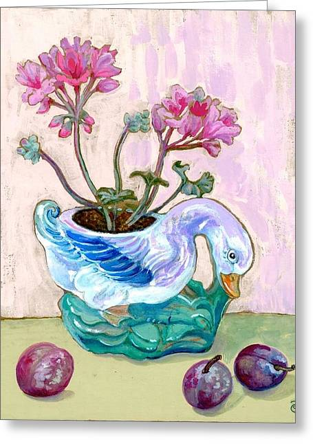 Majolica Duck With Geraniums And Plums Greeting Card by Peggy Jackson