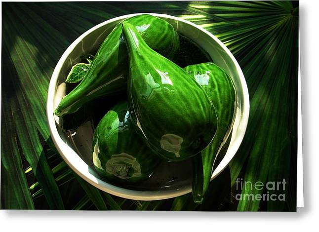 Majolica Gherkins Greeting Card by Joan-Violet Stretch
