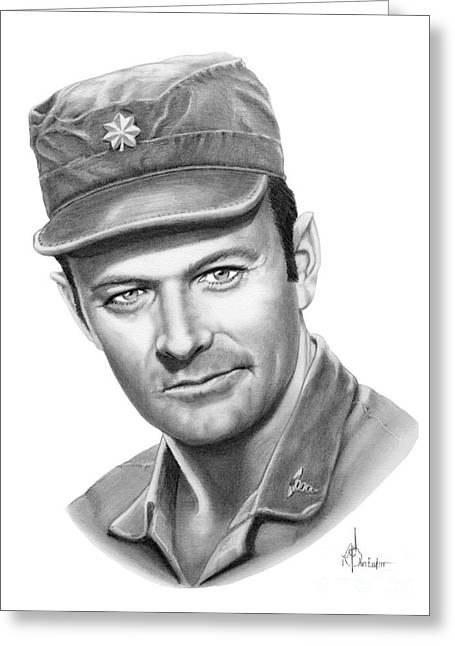 Major Frank Burns Greeting Card by Murphy Elliott