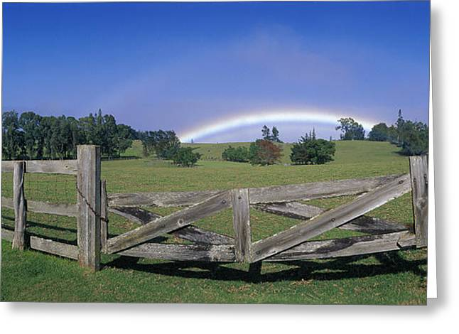 Double Rainbow Greeting Cards - Makawao Fencing Greeting Card by Ron Dahlquist - Printscapes